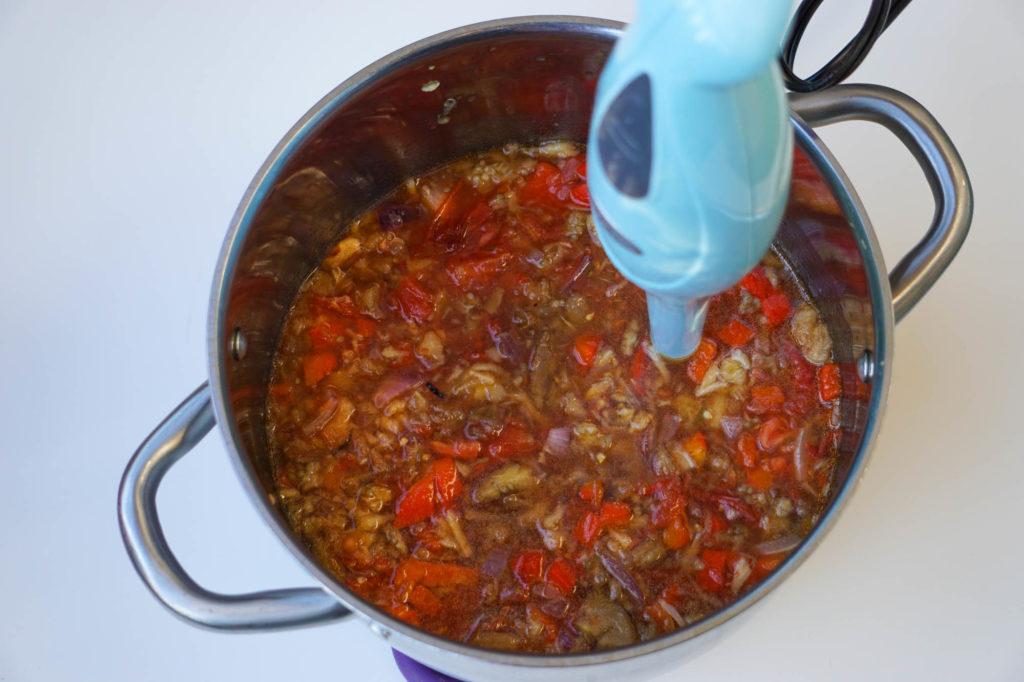Суп из печеных баклажанов, помидоров, перца, russian vegetable soup
