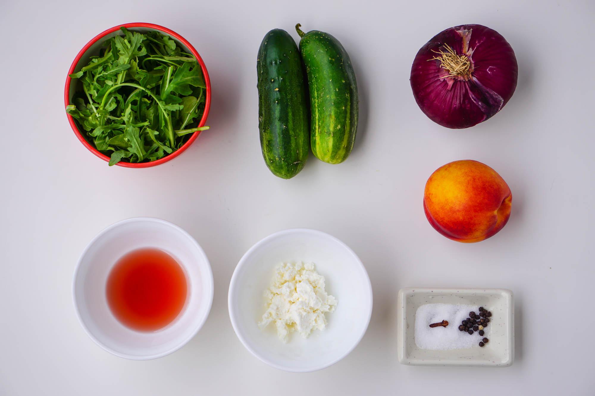 салат из персиков рукколы лука yuliyas.com